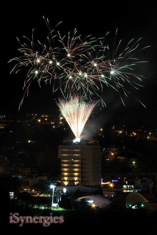 Fireworks launched from the roof of the Hotel Fray Marcos in Nogales, Mexico