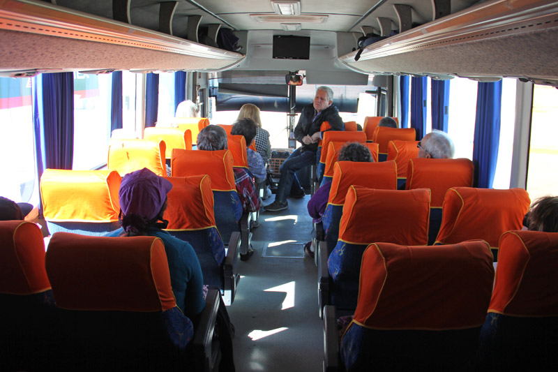 Aboard the bus on a Nature & Heritage missions tour in Sonora, Mexico