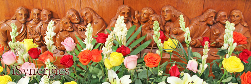 Altar flowers at the parish church Our Lady of Guadalupe in Altar, Sonora